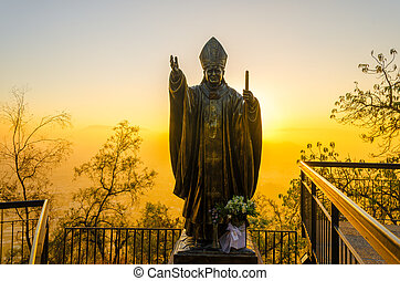 Pope Statue in Santiago, Chile - Statue of Pope John Paul II...