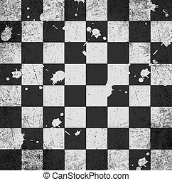 vintage crack old scratched empty chess board abstract...