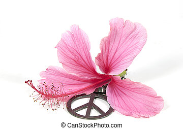 Pink Hibiscus Flower with Silver 1960s Peace Pendant - pink...