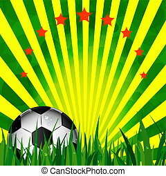 Illustration football card in Brazil flag colors Soccer ball...