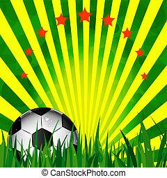 Illustration football card in Brazil flag colors. Soccer...