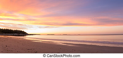 Panorama of ocean beach Crystal Crescent Beach, Nova Scotia,...