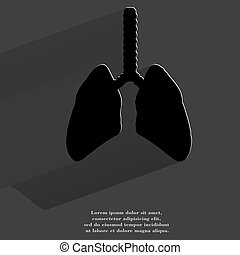 Human lung Flat modern web button with long shadow and space...