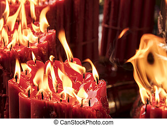 Candles With Molten Red Wax