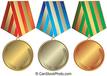 Silvery, golden and bronze medals with striped ribbons...