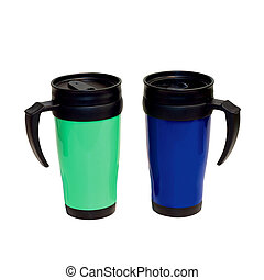 Thermos - Two take a way thermoses isolated included...