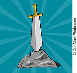Sword stuck into stone - Cartoon weapon of Dark ages. Eps 10...
