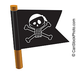 Black flag with pirate symbol - Cartoon styled icon Eps 10...