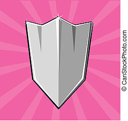 Shining shield - Cartoon weapon of Dark ages Eps 10 vector...