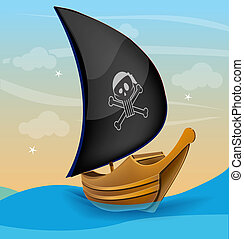 Sail boat with pirate symbol on a sunset - Cartoon styled...