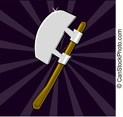 Shining poleaxe icon - Cartoon weapon of Dark ages. Eps 10...