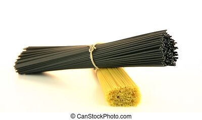 Bunch of spaghetti on white background