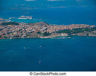 Aerial view of Corfu town in Kerkyra Greece