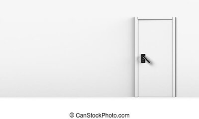 Door In White Room With Text Space. 3D render Animation....