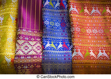 Colorful of thai silk fabric pattern - Closeup colorful of...
