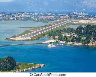Aerial view of Corfu airport in Greece