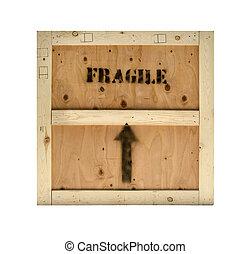 frágil, carga, madera, cajón