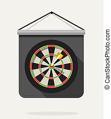 Dart with dartboard. Flat design