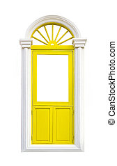 Yellow classic window frame on white