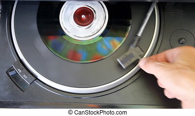 Vinyl player close up - vintage vinyl record on turntable...