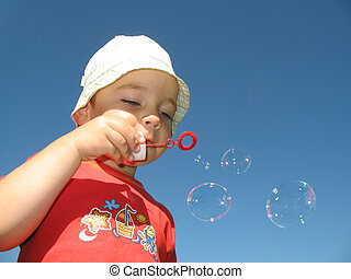 Little boy make ballon - Little boy make soap-bubble