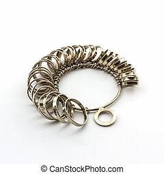 Ring Sizing - Chrome Jeweler finger sizing tools on white...