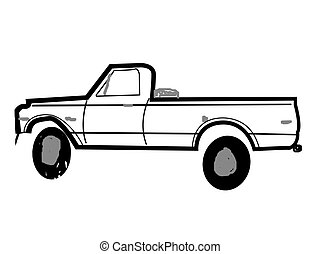 truck template - pickup truck outline for graphics