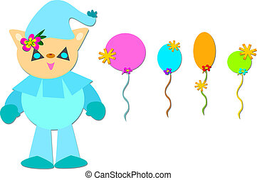 Circus Pig Clown with Balloons