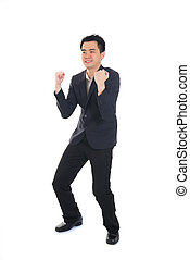 Excited Business man jump cheerful, asian man