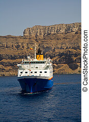 ferry boat at the island of santorini, in greece