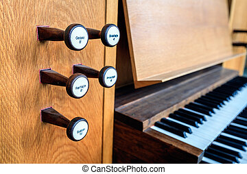 Church organ keyboard - Stops and keyboard of the organ in...