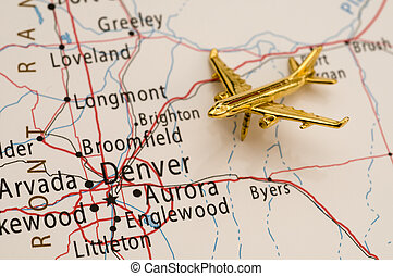 Traveling to Denver, Colorado - Travel over Colorado, Map is...