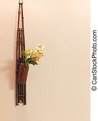 Oriental wall decor flowers and bamboo. Japan.