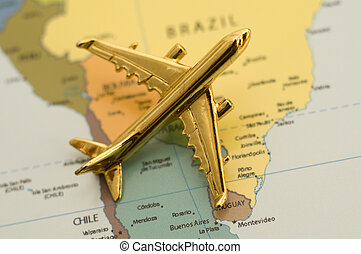 Traveling Over South America - Airplane Over South America,...