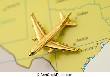Traveling Over Texas - Airplane Over Texas, Map is Royalty...