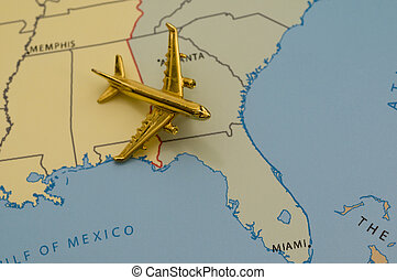 Flying to Florida - Airplane Over the Southeast, Map is...