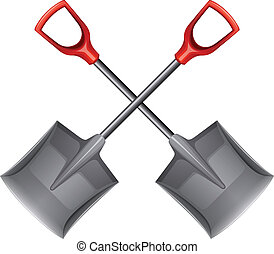 Two shovels - Illustration of the two shovels on a white...
