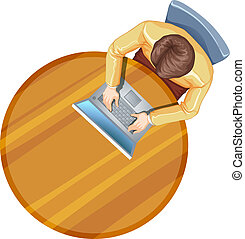 A topview of a man using his laptop