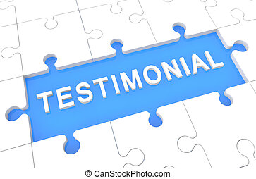 Testimonial - puzzle 3d render illustration with word on...