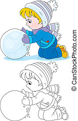 Child with a snowball - Little boy or girl made a big...