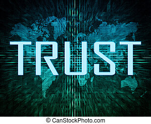 Trust text concept on green digital world map background