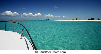 Boating in turquoise waters - Boating off the shore of Pine...
