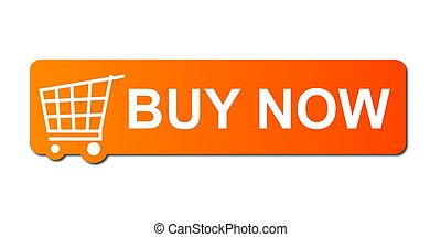 Buy Now Orange - Buy now button with a shopping cart on...