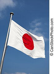 Japanese flag - state Japanese flag on the strong wind over...