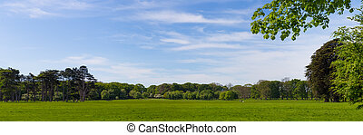 Panorama of Idyllic Phoenix Park in Dublin Ireland