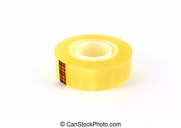 Yellow scotch tape roll - Yellow scotch tape roll on white...
