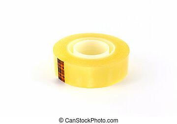 Yellow scotch tape roll. - Yellow scotch tape roll on white...