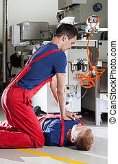 Resuscitation in a factory - Resuscitation after accident in...