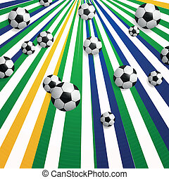 Vector Soccer Background with Brazil Colors - Vector...