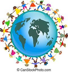 global kids - A group of diverse and happy kids holding...